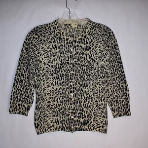 Women's J.Crew Animal Print Cardigan M (B4)